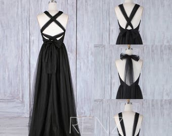 Bridesmaid Dress Black Tulle Dress,Convertible Strap Wedding Dress,Ruched Sweetheart Infinity Party Dress,A Line Multiway Prom Dress(HS472)