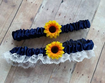Navy Blue Sunflower Garter Set - One to keep and one to toss! Blue satin white lace / pair / two / rustic / vintage / outdoor / sunflowers