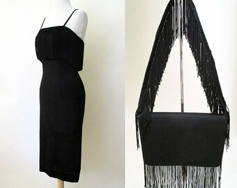 """Stunning 1950's Designer Extreme Hourglass Cocktail Party Dress w/ Matching Purse by """" Deb-time Original"""" Size-X-Small-Small"""