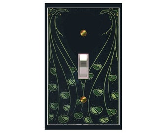 1748x - Art Deco Book Leaves - mrs butler switch plate covers -