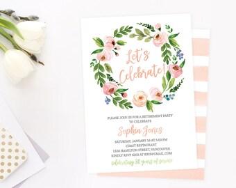 Retirement Party Invitation, Floral Retirement Party Invitation, Retirement Invite, Peach Retirement Invitation