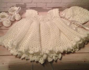 Crochet Christening Dress Set -  Crochet Baptism Set - Crochet Dress, Bonnet and Booties -  Baby Gift - Infant Clothes - Baby Shower Gift