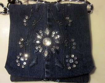 Jeweled Denim shoulder purse hand made