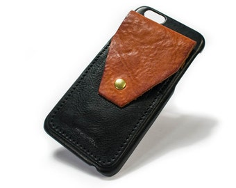 """iPhone 6 4.7"""" leather credit card case 3 slots vertical plus a FLAP choose colour of BODY and ACCENT"""