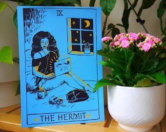 Hermit Tarot Card Art Print, Homebody A4 Digital Print