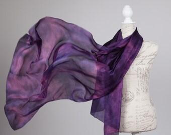Oversized wrap scarf / dark pink and purple silk scarf / boho fashion scarf/ purple scarf/ Hand dyed / wedding silk shawl