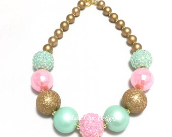 Toddler or Girls Chunky Necklace - Pink, Gold and Mint Chunky Necklace - Princess Chunky Necklace - Unicorn chunky necklace - Girls necklace