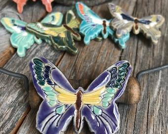 1 Ceramic Butterfly Mosaic Tile | Pottery Mosaic Tile | Butterfly Mosaic Supply | Stoneware craft supply | Ceramic Mosaic tile