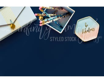 Blue Horizontal Styled Stock Product Photography Background w/Pink Notebook, Journal, Pens, Wallet, Jewelry Holder / High Res File #INF124SS