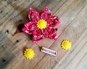 Red Bandana | Dog Collar Flower