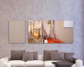 City Painting, Large Artwork, Acrylic Wall Art, Abstract Acrylic Art, Gray Painting, Red Painting, Abstract Canvas Art, Original Artwork
