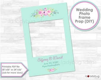 Mint and pink Wedding frame prop. Wedding photo frame prop. DIY PDF Printable file. Custom wedding prop. Floral frame for selfie station.