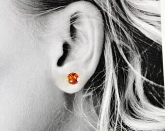 MothersDaySale Orange Quartz 8mm 3.85ctw Sterling Silver Stud Earrings