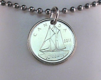 CANADA necklace. Canadian coin jewelry.  Canadian dime charm. mens jewelry.  blue nose. tall ship charm.  sailing gift. Nautical pendant 2
