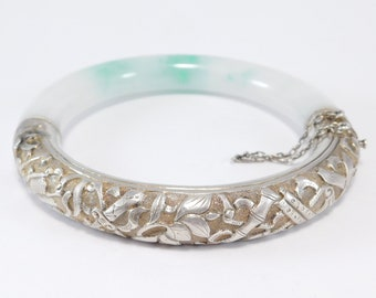 Old Ornate Silver And Natural Jade Bangle Bracelet Chinese