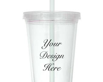 Customized/ personalized/ monogrammed tumbler/ clear plastic tumbler/ 16oz clear plastic tumbler