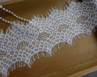 "CHANTILLY Lace - White Eyelash Lace Trim Mantilla Wedding Veil Lace with Scalloped edge Lace 4.72"" wide 3 Yards"