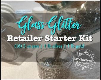 Glass Glitter Retailer Starter Kit, Wholesale, Silver Glass Glitter, Gold Glass Glitter, 16 Jars