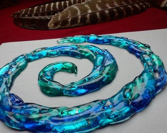 Spiral of Life Cremation Ashes InFused Glass Sculpture with rod iron stand Pet Memorial