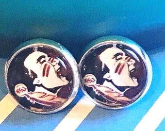 Florida State Seminoles glass cabochon earrings - 16mm