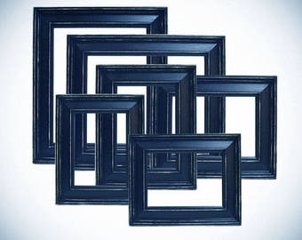 Picture Frame 6pc Picture Frame Set Picture Frame 8x10 5x7 4x6 Distressed Picture Frame Navy Blue or Custom Color Wedding Nursery Home Decor