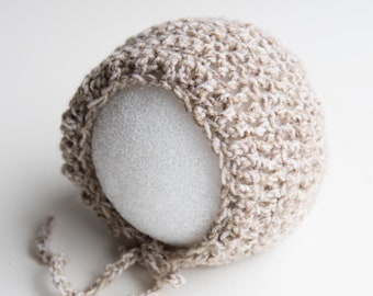Beige Brown Crochet Baby Hat Newborn Bonnet Photography Prop