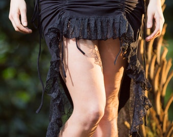 Sita Skirt (Black) - Festival Clothing Bohemian Gypsy Hippie Fairy Jungle Wild Sexy Adjustable Festival Boho Nomadic Ethnic Bohemian