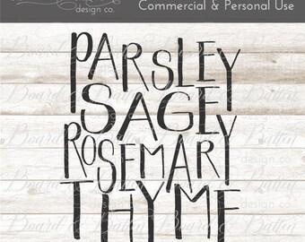 Garden Svg File - Gardening Svg Files - Herb Svg - Parsley Svg File - Sage Svg - Rosemary Svg - Thyme Svg - Garden Herbs Svg Cut Files -