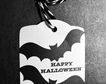 Bat Halloween Party Tags - 8 Halloween Tags - Black and White Bat Halloween Candy Tags