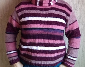 wool sweater, striped sweater, handmade sweater. Made in FRANCE