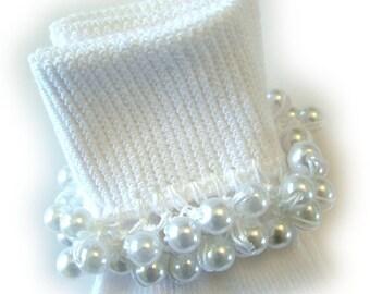 Kathy's Beaded Socks - White Pearl socks, girls socks, white socks, pearl socks, dressy socks, Baptism socks, Christening socks