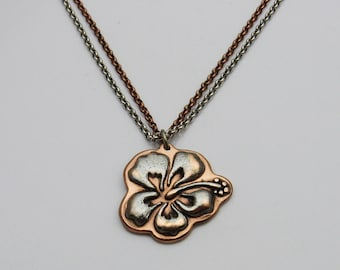 Mixed Metal Necklace, Hibiscus Necklace, Flower Necklace, Copper Necklace, Mixed Metal Jewelry, Hibiscus Flower, Tropical Flower Necklace