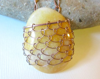 Wire Netted Golden Oval Shaped Stone Pendant, Copper Wire Wrapped Stone Necklace, Antiqued Copper Chain Jewelry, Yellow Stone Pendant