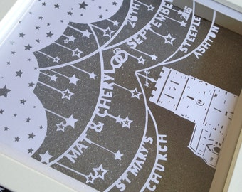 Personalised Wedding Papercut. Hand cut design including names, dates and venue featuring a personalised cut of the actual church venue.