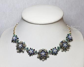 PDF Tutorial - Haleth Jewelry Set Bracelet Pendant Necklace Beading Instruction Instant download Beadweaving Pattern