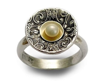 Pearl silver ring, Two tones ring, Floral pearl ring, Pearl engagement ring, silver gold ring, filigree ring, Mixed metals band, for woman