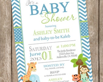Boy Jungle Baby Shower Invitation, jungle, chevron, blue, green, safari, typography, printable invitation