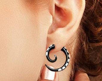 Fake Gauge - Small Horn Spirals with Bone Inlay - Fake Gauge Earrings - Tribal Earrings -  H05