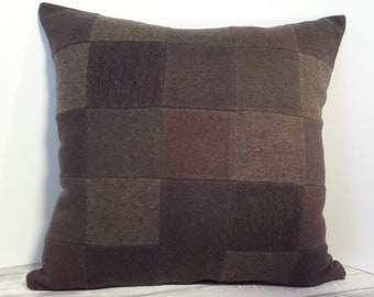 """Recycled wool sweater slipcover for 18"""" cushion -- dark chocolate brown"""