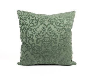 Green Velvet Pillow | Chenille Cushion Cover | Decorative Couch Pillow | Accent Pillow | Throw Pillow Cover | Handmade by EllaOsix