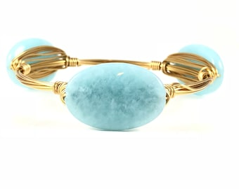 Light Blue Jade Oval Wire Wrapped Bangles - Wire Jewelry - Gemstone Bracelet - Mother's Day Gift - Something Blue - Courtney And Courtnie