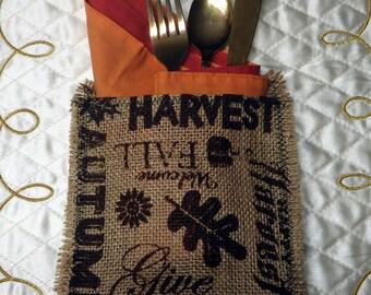 Holiday Utensil Holder, Thanksgiving Burlap Napkin Holder, flatware holder, Holiday Table Decor, Thanksgiving Decor