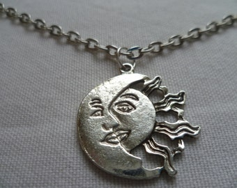 Sun and moon necklace,sun necklace,silver moon necklace,sun moon jewelry,wiccan jewelry,pagan,planet necklace,silver moon,silver sun