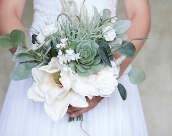 Succulent Bouquet, Magnolia Bouquet, Wildflower Bouquet, White Bridal Bouquet, Greenery Bouquet, Silk Flower Bridal Bouquet, Wedding Flowers
