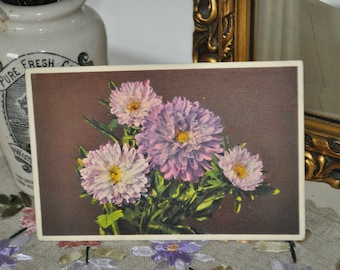 Vintage Postcard Unused 1940s English Purple Aster, Hidden Meaning card, Love, Daintiness