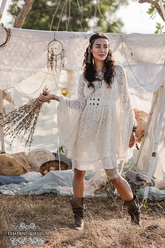 Empress bohemian dress lace hippie boho wedding bride for Il fico d india rural chic
