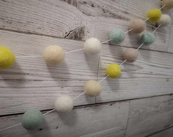 Nancy felt ball garland in yellow, ivory, latte and duck egg blue - bunting, home devor, wall hanging, nursery decor