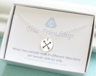 Gift for Friend • Crossed Arrow Necklace • BFF Gift • Friend Jewelry • Arrow Jewelry • Crossed Arrow Necklace • Best Friend Jewelry • F03