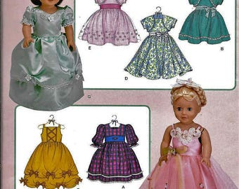 """18"""" AG Doll Clothes Pattern, Simplicity 3547, Dress up Dresses fits american Girl Dolls"""