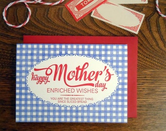 letterpress bread bag happy mother's day greeting card blue gingham with red script type greeting card greatest thing since sliced bread